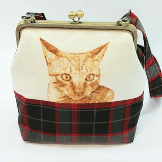 Mo-type mouth gold embroidery 20cm oblique backpack 03-- cat