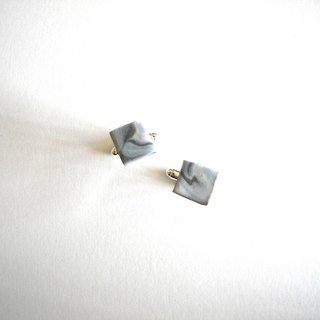 Square Ceramic Cuff Link - Blue and white, marble