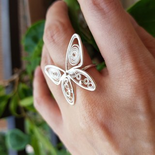Taiwan pink butterfly silk silver ring adjustable ring