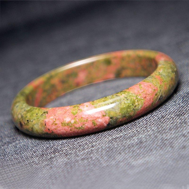 天然蛇紋石手鐲62MM黃綠撞色油畫風花綠手環色彩稀有個性女手鏈