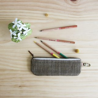 Pencil Cases Hand woven and Botanical Dyed Cotton Brown Color