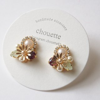 【14 kgf】 flower bijou pierce red