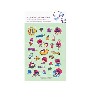 Ang Ku Kueh Girl and Red Egg Travel Series - Sticker Set 度假旅游 贴纸