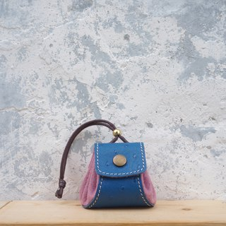 Small dumplings - leather purse / small bag / jewelry bag - blue + purple
