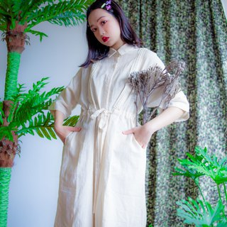 Beige cotton and linen ribbon coat