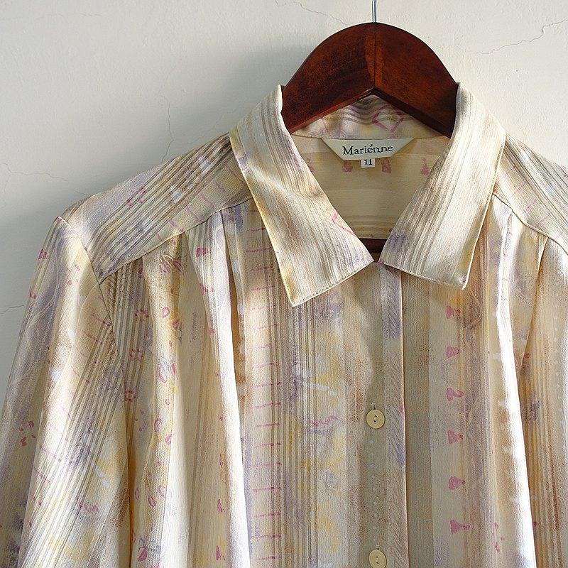 Slowly古著/Vintage/音符/古著襯衫/日本製