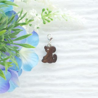 Mouse wooden charm  (can choose gold / silver plated Lobster clasp)