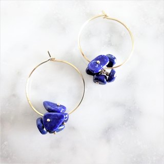 14 kgf * Lapis lazuli flowers hoop pierce Ear needle variable ear