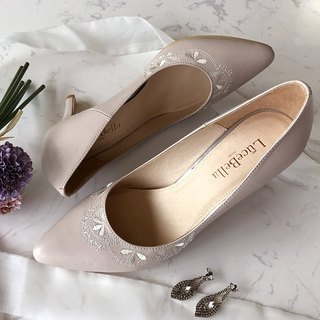 【Pattern Happiness】 French embroidery handmade wedding shoes - 祼 powder-MIT all leather handmade high heels Taiwan
