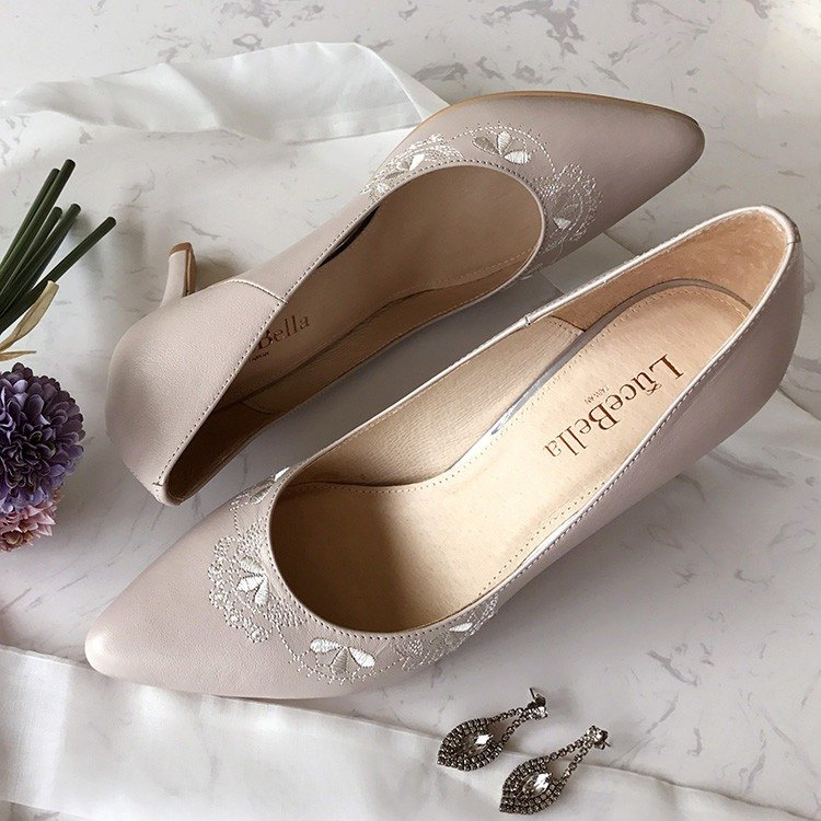 【Pattern happiness】 handmade wedding shoes - Light Pink