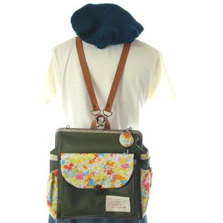 Sakura dance 3 WAY Left side with zipper Round cell Backpack Olive green