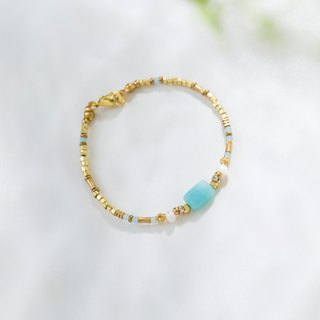 [Series] day and night design amazonite brass bracelet - Lucky Stone