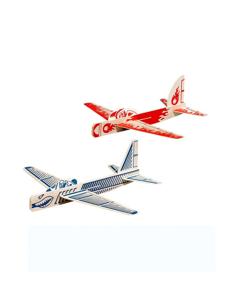 British Wild & Wolf retro style fun wood aircraft assembly model (a set of red and blue)