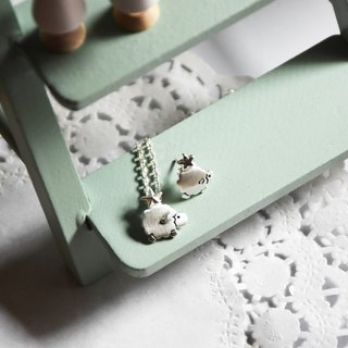 "**~ sheep with stars + 16 ""sterling silver necklace ~**sheep + pure hand-made"