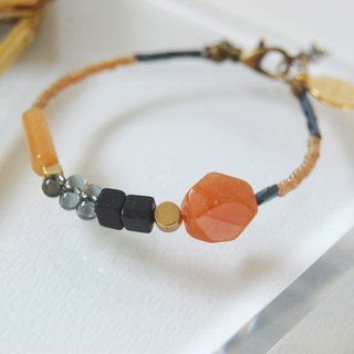 the good day|trio|Orange Crystal Gemstone Bracelet