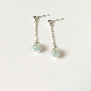 *Haku‧Neko*Mini Gel mint green color mixing glass beads ball earrings long chain