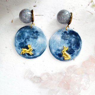 Large Moon Golden Jade Rabbit Earrings Galactic Space Star Earrings sweet fashion jewelry pair on sale