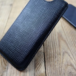 APEE leather handmade ~ plastic phone holster ~ cross pattern black ~ (iphone X)