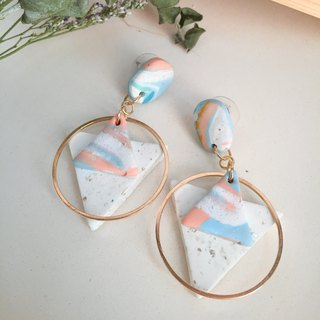 Polymer clay earrings- geometric double triangle drop studs/ear clips