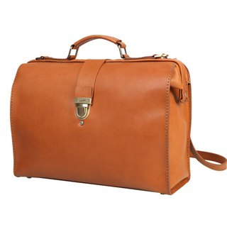JIMMY RACING retro leather portable diagonal back 3 way doctor bag - camel 0416186