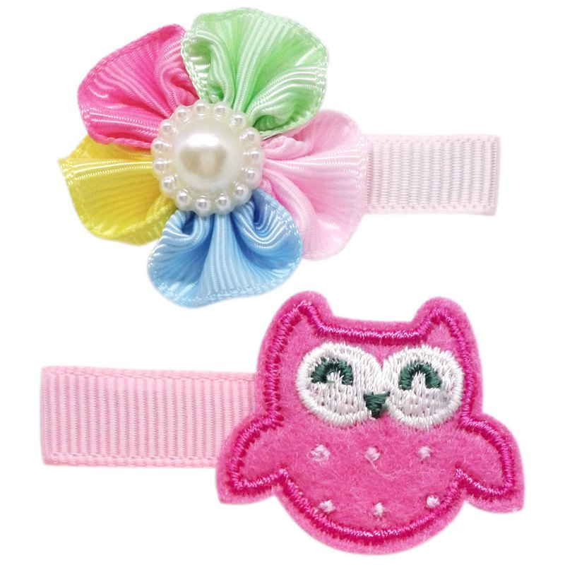 Cutie Bella Owl with five-color flower hairpin two into the group all-inclusive cloth handmade hair accessories