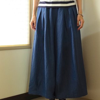 Everyday hand-made clothes playful girl blue pleated wide pants linen