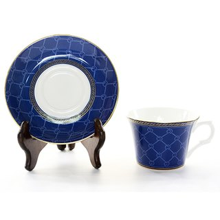 Engels Co. Classic Collection in Navy Blue & Real Gold Coffee Cup/Saucer set