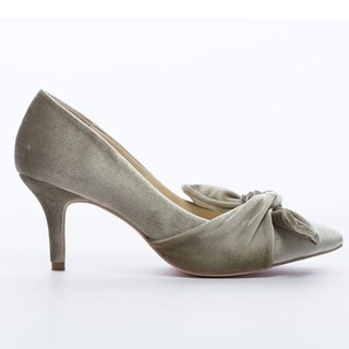 Saint Landry] [romantic velvet big bow evening shoes - metal gray