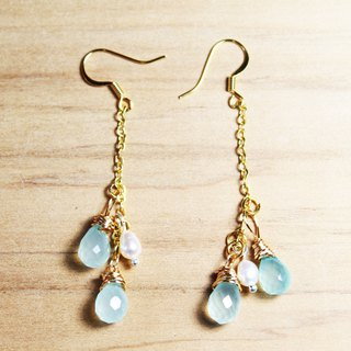 Blue jade chalcedony blue lunar earrings can be clip-on