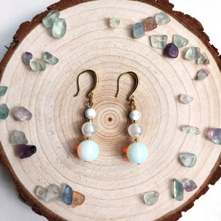 J006- natural stone bead string earrings white stone glaze opal