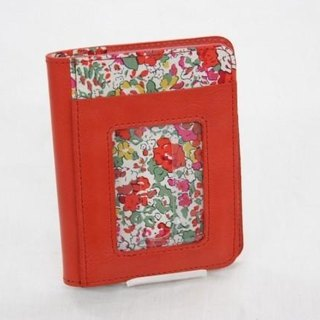 Of cow leather and Liberty print path & Card Case Red