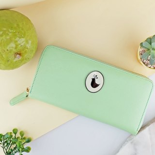""" Green Mint "" Zip Around Long Wallet / Cow Leather 錢包- 皮革-財布"