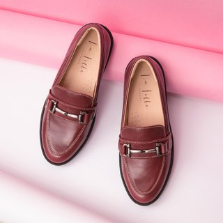 Silver buckle loafers _ wine red