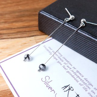 Black Crystal Auricular Ear (Small) - 925 Sterling Silver Natural Stone Earrings