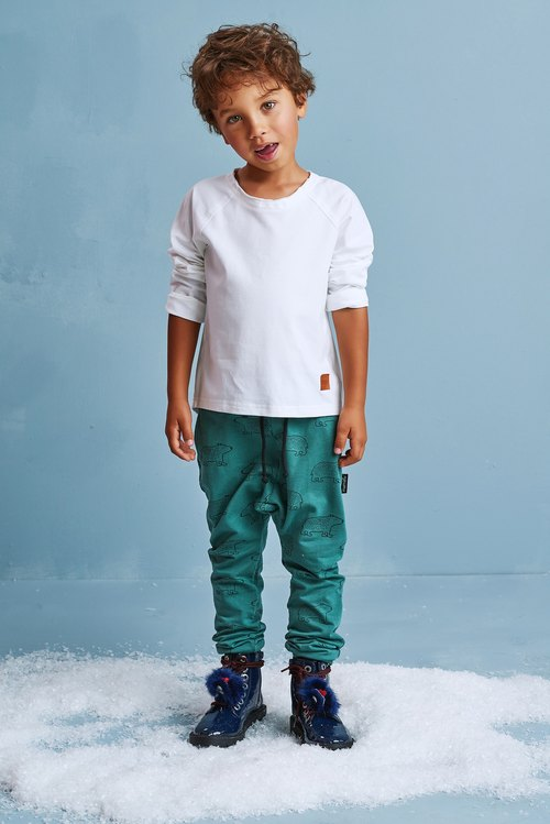 Kids pants TEDDY BEAR teal. Hand made trousers.