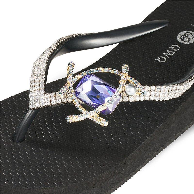 女款3cm厚底夾腳拖鞋-頂級首飾工藝水鑽-寶石珍珠 爵士黑