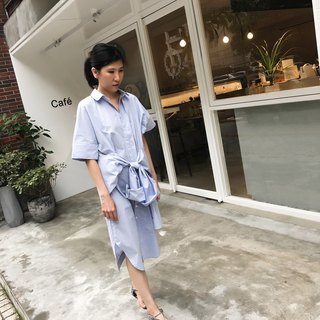 ZUO Blue & White Houndstooth  Shirt Dress