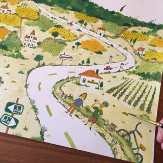 One-day bike trip in Bourgogne of France (Framed Painting)