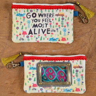 Pompon piping canvas ticket purse - Go Feel Alive ∣ CPRS136