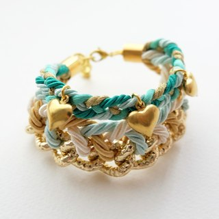 Mint braided gold chain bracelet with brass heart charm