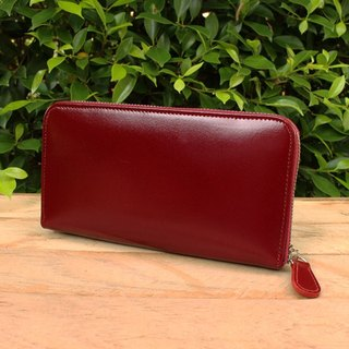 Leather Wallet - Zip Around Basic - Burgundy (Genuine Cow Leather)