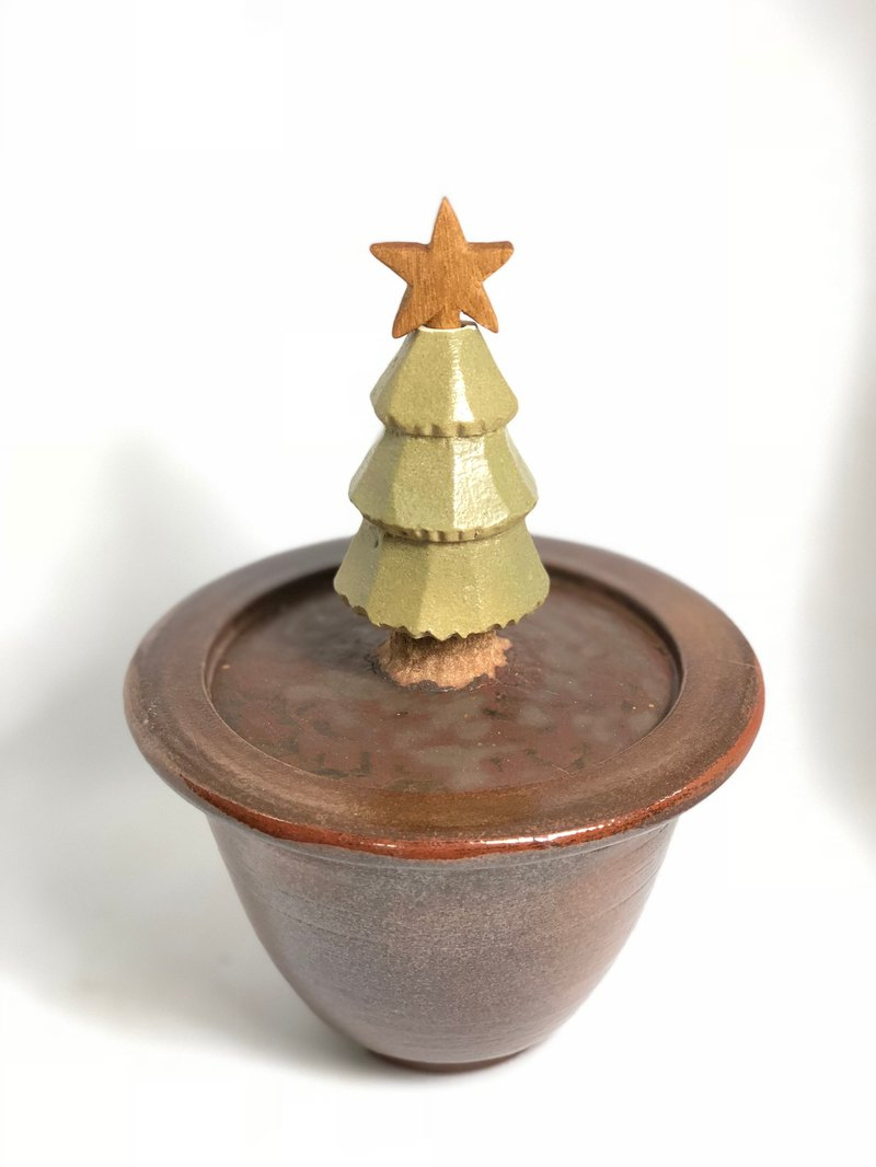 "[Limited Edition] Pottery ""Treasures Collection - Christmas Tree""--Handmade--Handmade--Clay--Glazed - Wood Engraving"
