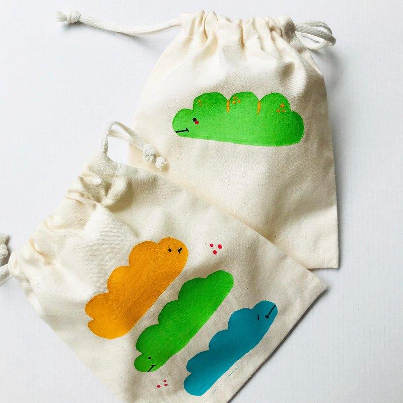 麵包蟲 絹印束口袋