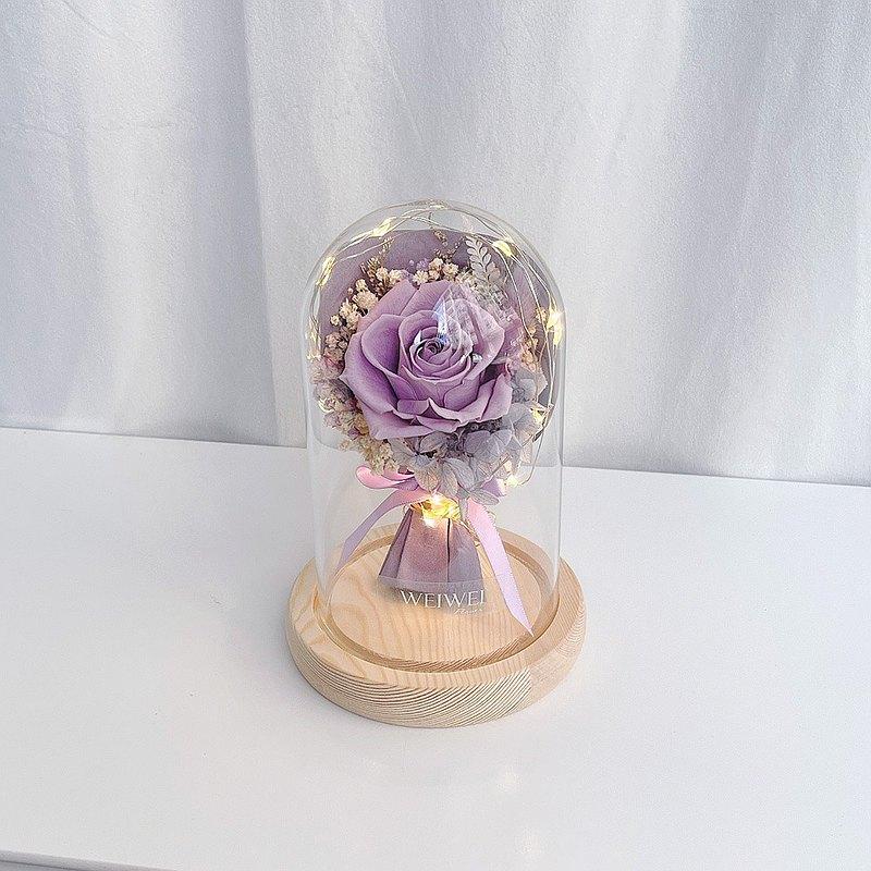 【獨家USB款】LED玫瑰小花束永生花玻璃鐘罩【丁香紫】