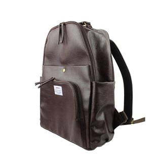 AMINAH-deep coffee multi-level backpack [am-0298]