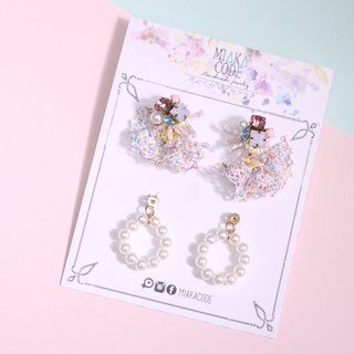 A variety of wearing handmade beaded pink series lace pearl earrings / ear clips
