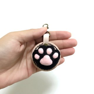 Fist Cat Meat Ball - Black Cat - Leather Wool Felt Key Rings Replica - Free Lettering