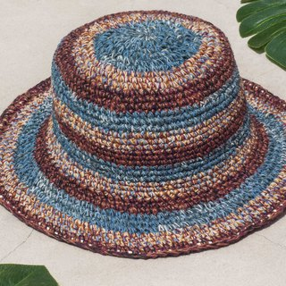 Hand-knitted cotton and linen cap knit hat fisherman hat sunhat straw hat - French blue sky desert travel