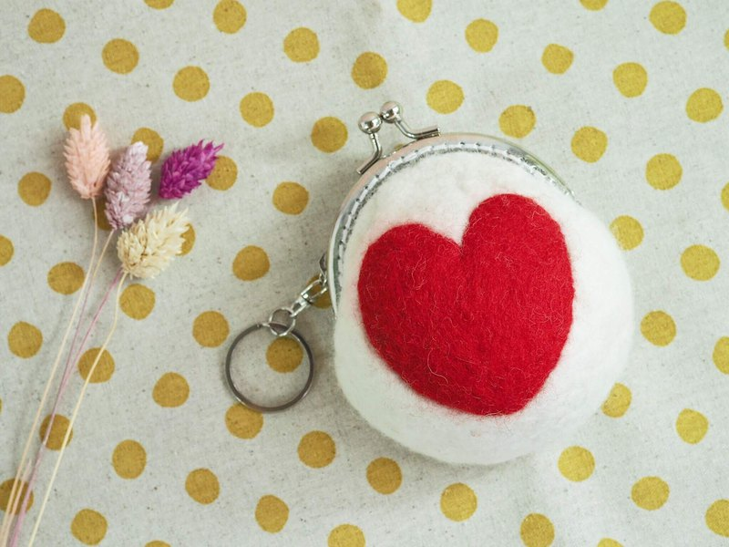 First love girl heart wool felt gold bag