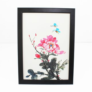 Hand-painted painting red peony Chinese painting ornaments (with picture frame)